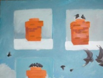 A photo of Unfinished paintings & photographs