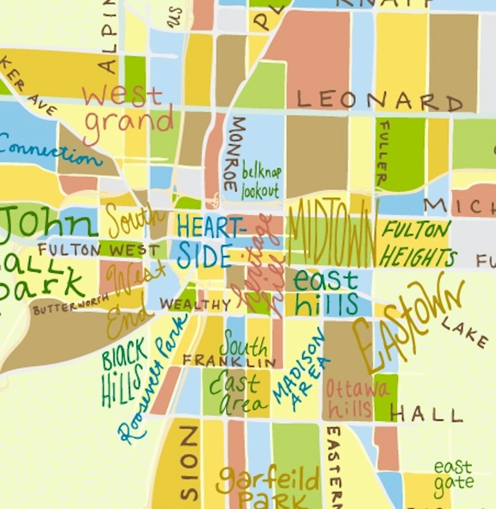 this illustrated map of grand rapids features the major streets andneighborhoods of the city whimsical and colorful this map exhibits uniqueaffection . kate dupre  illustrated grand rapids map  artprize entry profile